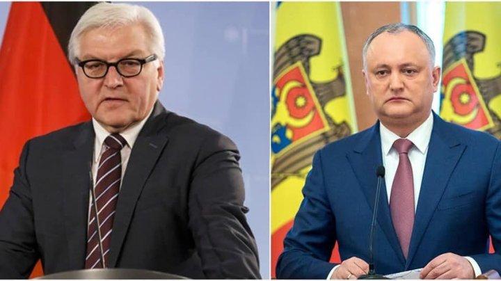 Preşedintele Germaniei îi sugerează lui Dodon să restabilească relaţiile cu Moscova pentru a rezolva problema transnistreană
