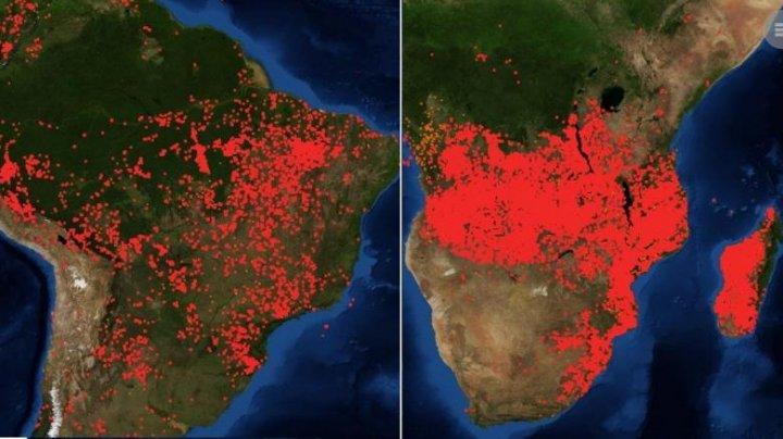 Şi Africa ARDE! Imagini uluitoare făcute publice de NASA