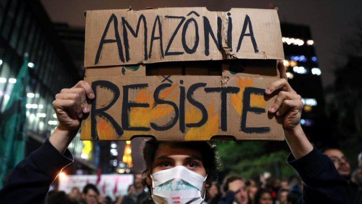 Proteste în mai multe orașe față de lipsa de implicare a guvernului Braziliei în lupta cu incendiile din Amazonia