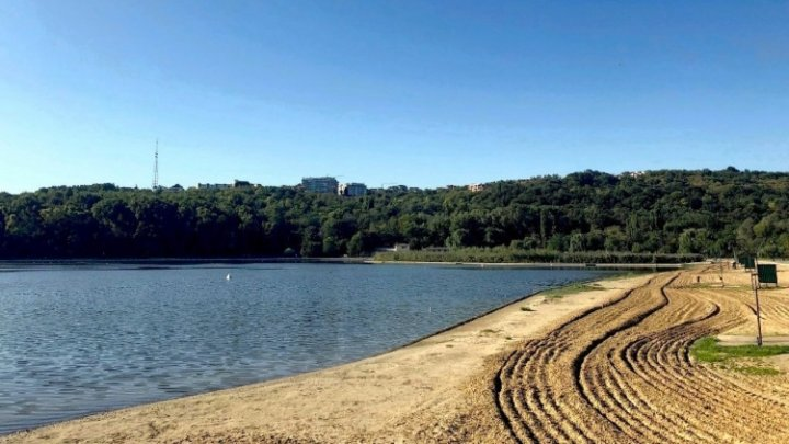 Tractoare pe plaja din preajma lacului din Parcul Valea Morilor. Vezi ce se întâmplă (FOTO)