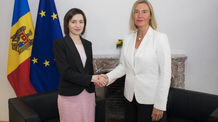 Maia Sandu s-a întâlnit la Bruxelles cu Federica Mogherini. Ce au discutat oficialii