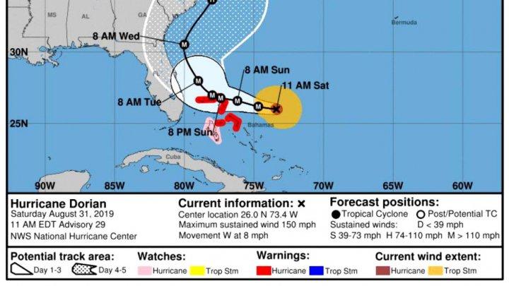Uraganul Dorian a intrat în categoria 5 de periculozitate