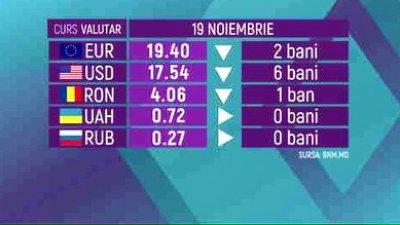 CURS VALUTAR 19 noiembrie. Cat costă euro şi dolarul astăzi, 19 noiembrie
