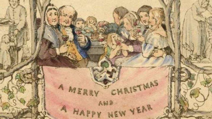 Prima felicitare de Crăciun, tipărită în 1843, a fost expusă la un muzeu din Londra