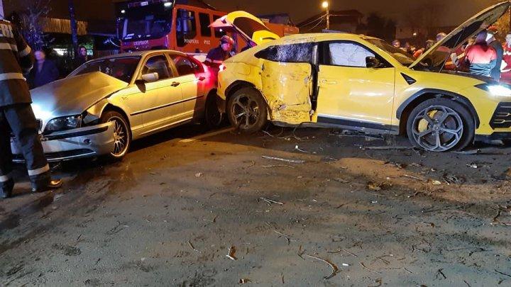 Accident de lux la Bucureşti. Un Lamborghini și un BMW s-au făcut ţăndări