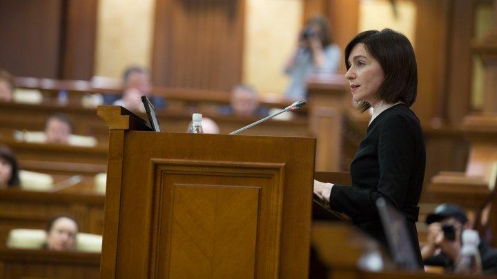 Discursul premierului Maia Sandu în plenul Parlamentului