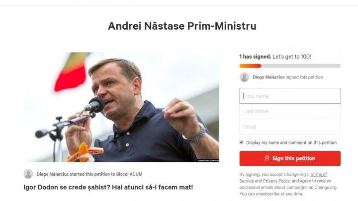 Andrei Năstase, Prim-ministru! O nouă petiţie, lansată pe internet