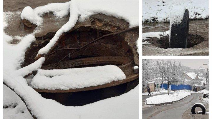 Drumurile din Durleşti, PERICULOASE. Trei guri de canalizare descoperite pun la încercare şoferii