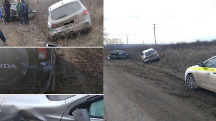 Trei automobile, deteriorate într-un accident rutier produs la Bădiceni, raionul Soroca
