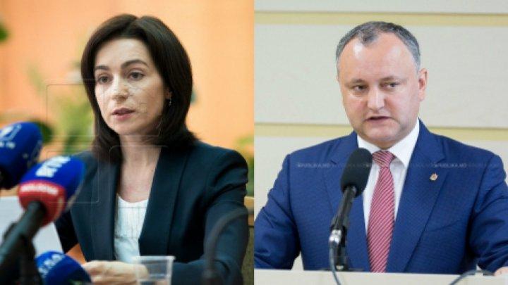 Maia Sandu şi Igor Dodon, întrebaţi dacă vor candida la prezidenţiale. RĂSPUNSUL celor doi