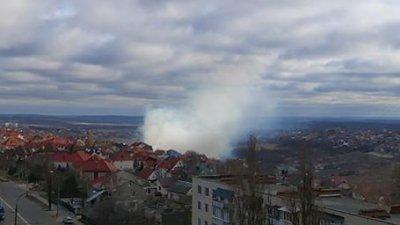 INCENDIU la Schinoasa. Se înalţă o coloană de fum dens (VIDEO)