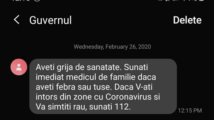 Sunaţi medicul de familie dacă aveţi febră sau tuse. Mai mulţi utilizatori ai telefoanelor mobile au primit asemenea mesaje, semnate de Guvern