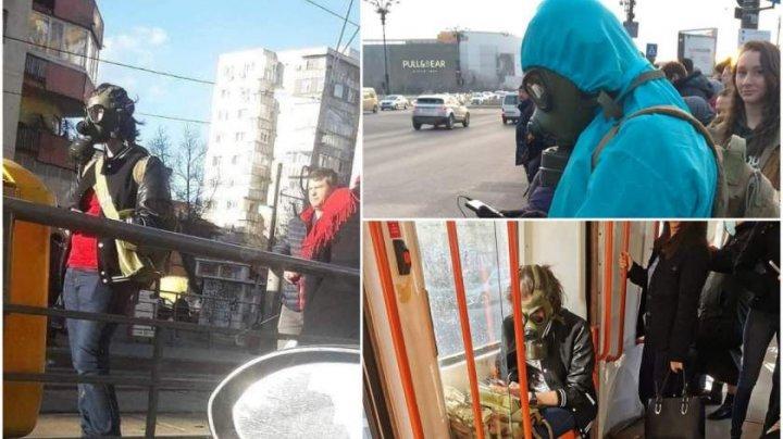 Isteria coronavirusului: În România au fost surprinşi oameni mascaţi ca în filmele cu atacuri chimice