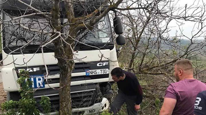 ACCIDENT în raionul Anenii Noi. Un șofer a ieșit pe contrasens și s-a izbit cu TIR-ul într-un copac (FOTO)