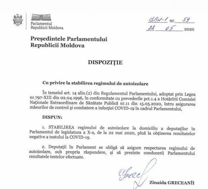 Deputații moldoveni, trimişi în izolare (DOC)
