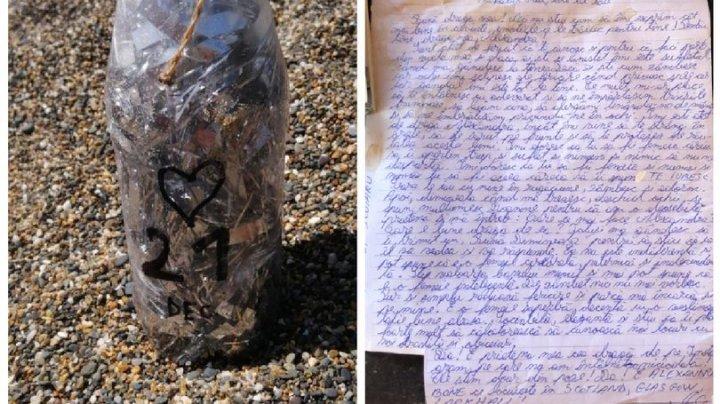 Mesaj de dragoste, scris în limba română, găsit într-o sticlă, pe o plajă din Irlanda. Cui îi aparţine răvaşul şi cui îi este adresat