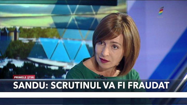"Maia Sandu, în studioul ""Primele Știri"": Scrutinul prezidențial va fi fraudat"