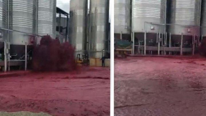 Momentul în care un rezervor imens explodează și 50 de tone de vin se împrăștie pe jos, într-o cramă din Spania (VIDEO)
