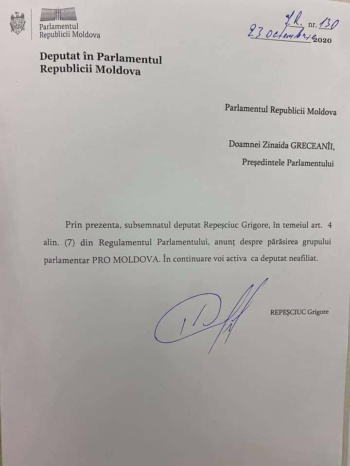 După Sîrbu, și Repesciuc părăsește PRO MOLDOVA