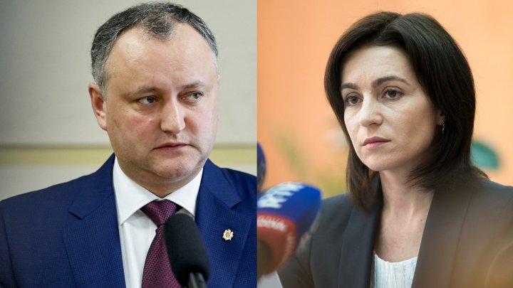 """Igor Dodon o invită pe Maia Sandu la dialog. """"Varianta ideală ar fi o coaliție largă între stânga și dreapta"""""""