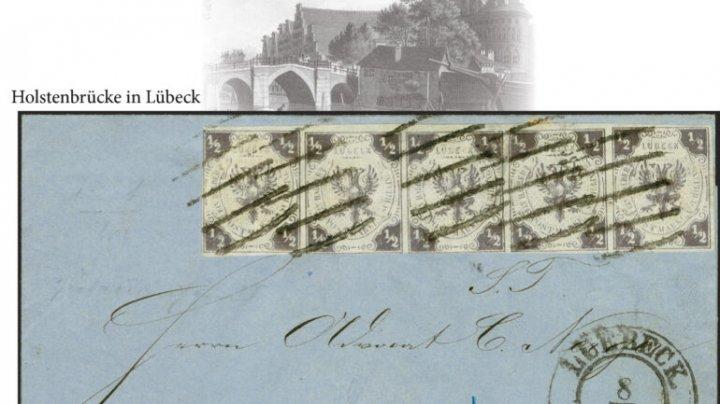 O scrisoare timbrată din secolul al XIX-lea, vândută pentru suma de 430.000 de euro în Germania