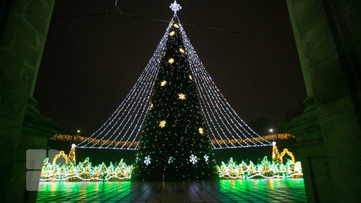 De 1 decembrie a fost inaugurat Pomul de Crăciun. Vezi programul artistic al sărbătorilor de iarnă din acest an (FOTO)
