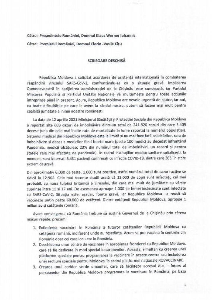 Un partid politic din Moldova solicită deschiderea centrelor de vaccinare la frontiera cu România