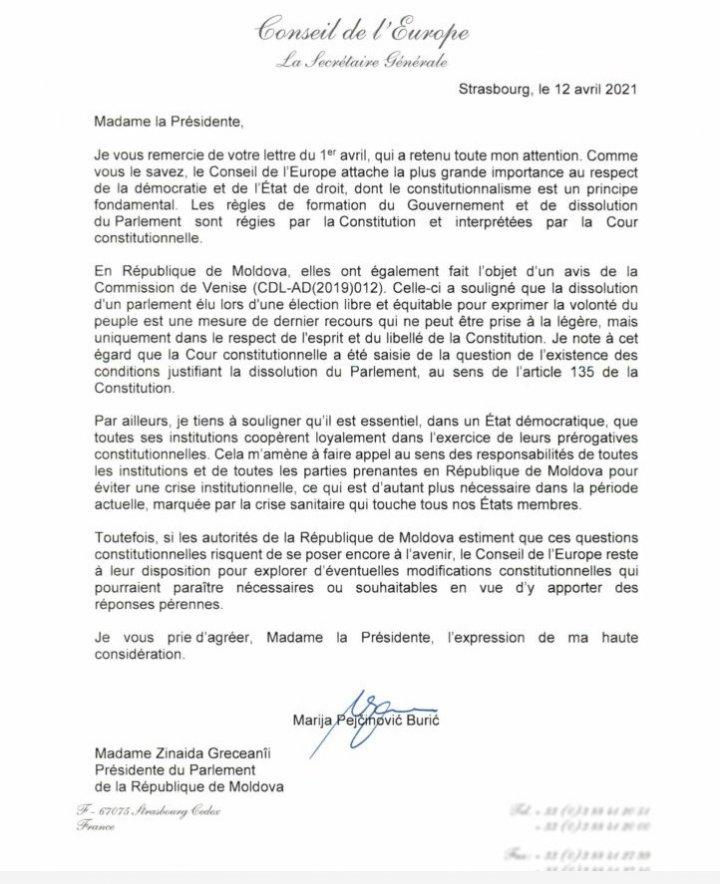 Președintele Parlamentului a primit răspunsul Secretarului general al Consiliului Europei, privind alegerile anticipate