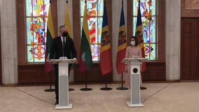 """Maia Sandu, primele declarații după întrevederea cu Gitanas Nauseda: """"Vizita dumneavoastră este un semn puternic de prietenie"""""""