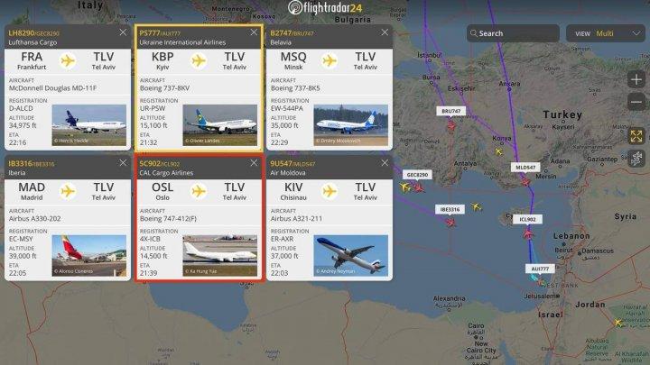 O cursă Air Moldova a fost blocată în zbor în urma ploii de rachete trase asupra Israelului
