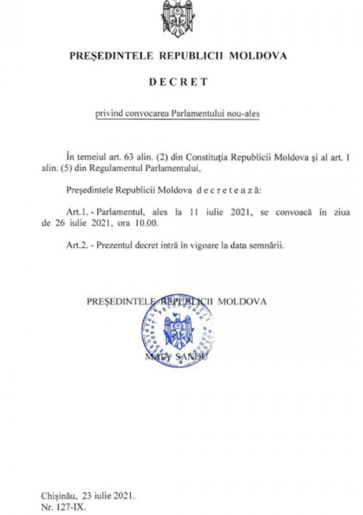 Maia Sandu a semnat decretul privind convocarea Parlamentului