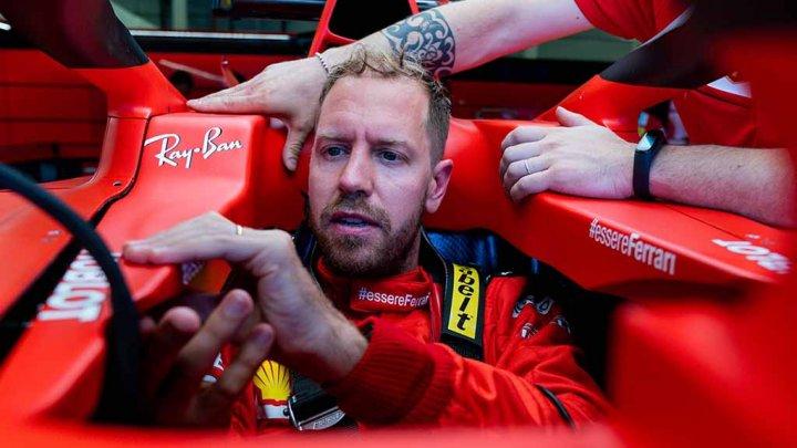 Ghinion la antrenament: Sebastian Vettel a fost nevoit să folosească stingătorul