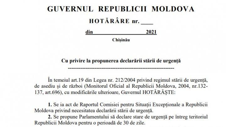 Guvernul propune instituirea stării de urgență până în 20 noiembrie