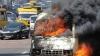 Три микроавтобуса полностью сгорели, а два других частично пострадали от огня