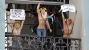 Femen провели акцию протеста на колокольне Софийского собора в Киеве