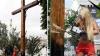 Femen в поддержку Pussy Riot спилили крест в центре Киева (ВИДЕО)
