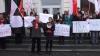 Акция протеста перед зданием НАРЭ: социалисты выступают против повышения цен на топливо