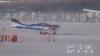 Легкомоторный самолет сдуло ветром (ВИДЕО)