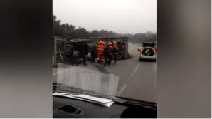 ДТП на трассе Кишинев-Бельцы: трактор перевернулся посреди дороги