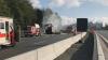 В Германии пассажирский автобус столкнулся с грузовиком и загорелся
