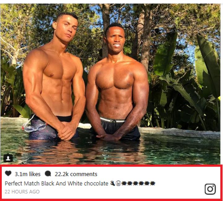Роналду отпустил расистскую шутку в Instagram и похвастался кубиками пресса