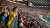Маскот еж Герой развлекал зрителей во время ЧМ по легкой атлетике