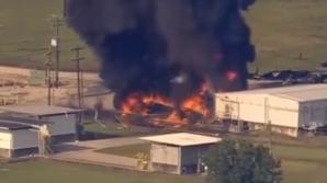 Крупный пожар вблизи Хьюстона: загорелись два контейнера с органическими пероксидами