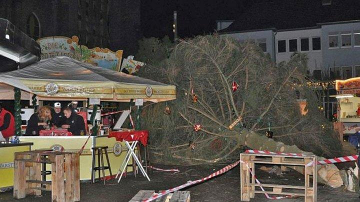 В Германии рождественская ель рухнула на гостей ярмарки