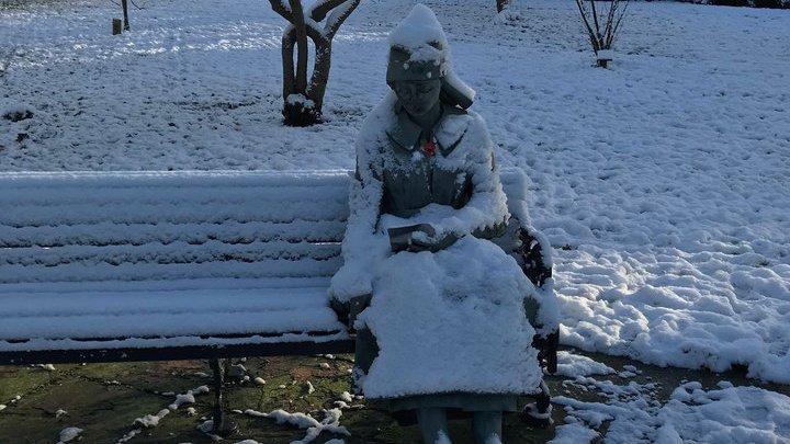 В Британии к замерзшей на скамейке статуе вызвали скорую