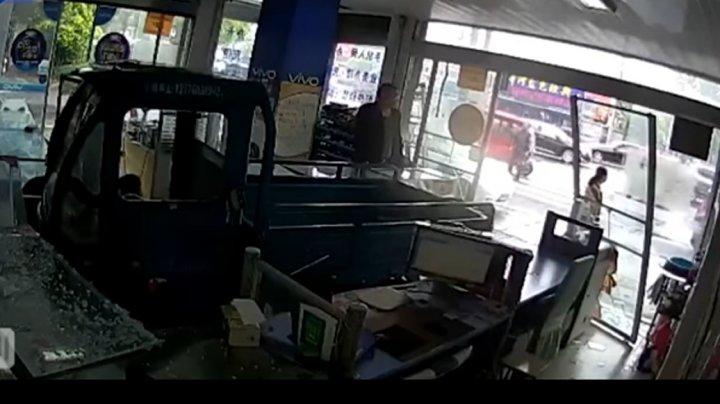 В Китае пес въехал на машине в витрину магазина (видео)