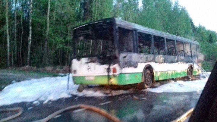 Под Кировом полностью сгорел пассажирский автобус (видео)