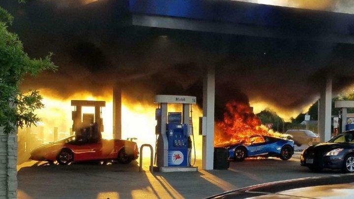 Забывчивый водитель сжег два чужих Lamborghini на заправке: видео