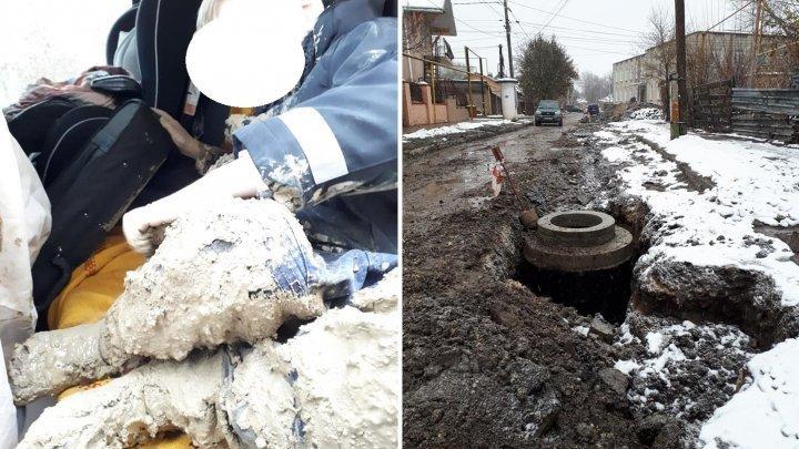 В Бельцах ребенок провалился в грязевую яму на улице (фото)