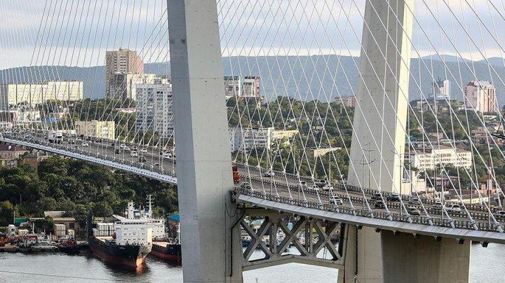 Четверо мужчин пытались пересечь мост во Владивостоке в костюме автобуса (видео)